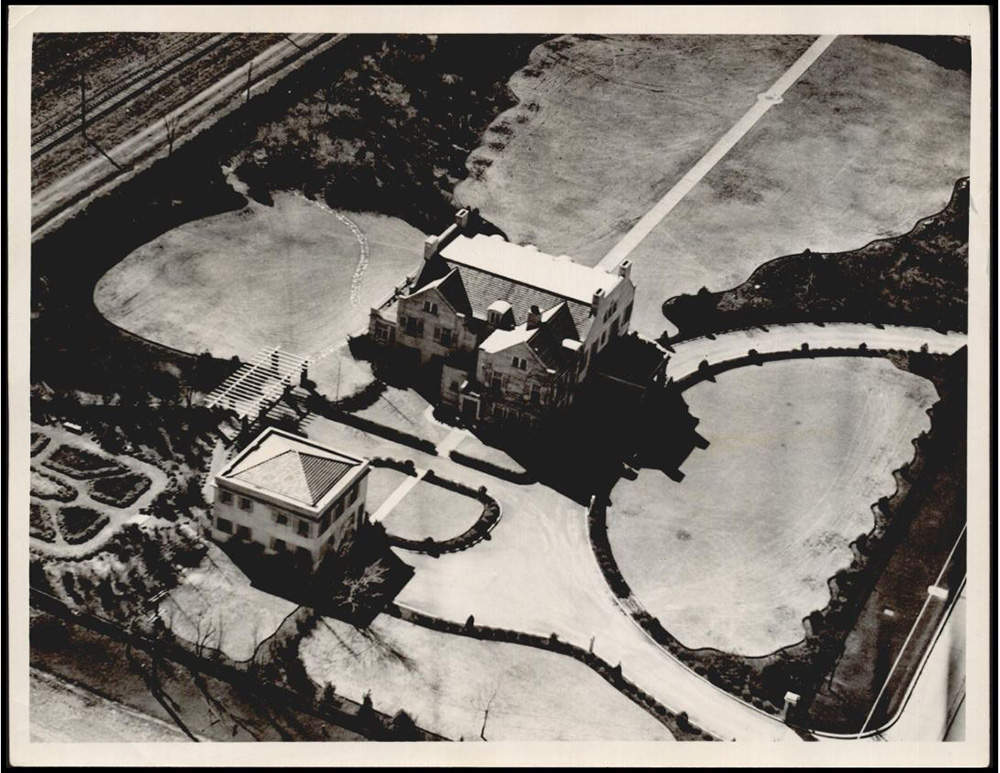 1930 Mansion Exterior Air View